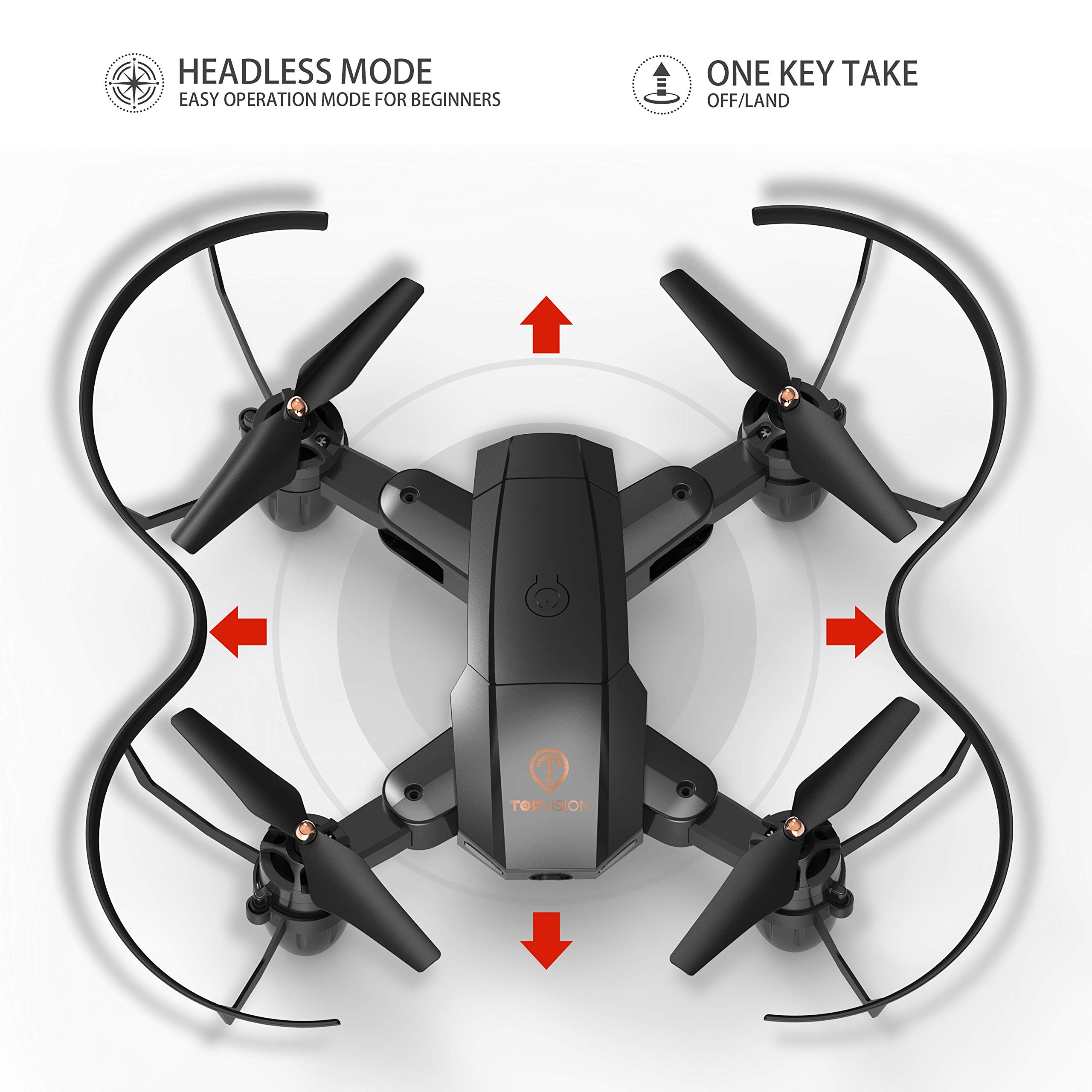 Drone with Camera, TOPVISION Foldable Quadcopter RC Drone with WiFi FPV HD Camera Live Video, Altitude Hold, One Key Start, APP Control, Black by T TOPVISION (Image #6)