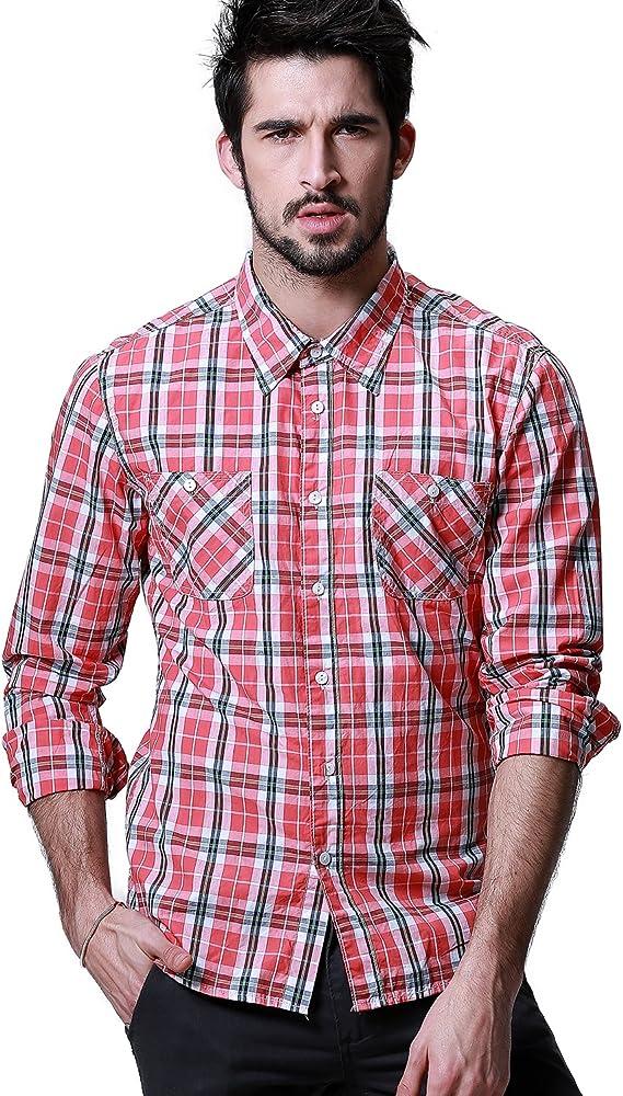Matchstick Camisa de Cuadros Manga Larga para Hombres #G2305(G2226 Rojo cuadr¨ªcula,Medium): Amazon.es: Ropa y accesorios