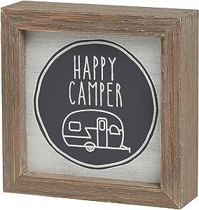 Wooden Box Frame Sign Art RV Trailer Camper Decor Happy Camper 5 x 5 Inches