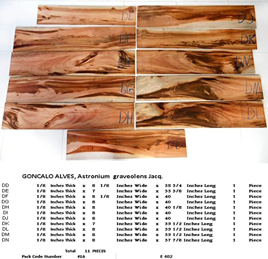 11 bookmatched Goncalo Alves tigre chapa de madera para guitarras ...