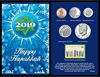 product image for Hanukkah Greeting Stamp and Coin Set Decor | 32 Cent Hanukkah US Postage Stamp | Genuine Coins from 2019 | Holiday Keepsake | Certificate of Authenticity|
