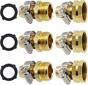 Triumpeek Garden Hose Repair Connector with Clamps, Set of 3 Aluminum Water Hose End Replacement Fit for 3/4