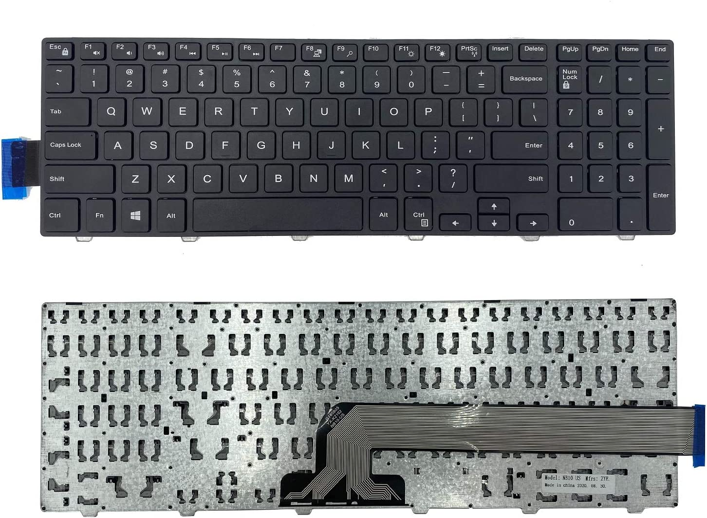 New US English Laptop Keyboard for Dell Inspiron 15 3000 5000 3541 3542 3543 5542 3550 5545 5547 3551 3552 3559 3565 3567 3551 3558 5566 5748, No Backlit