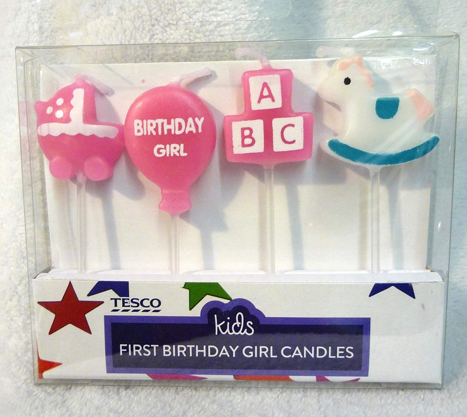 Baby Girls 1st Birthday Candle Pack 4 Pack Birthday Cake Candles