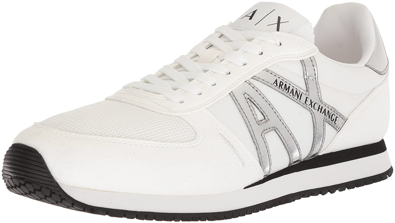 A X Armani Exchange Men's Retro Running Sneaker, White, 8 Medium US