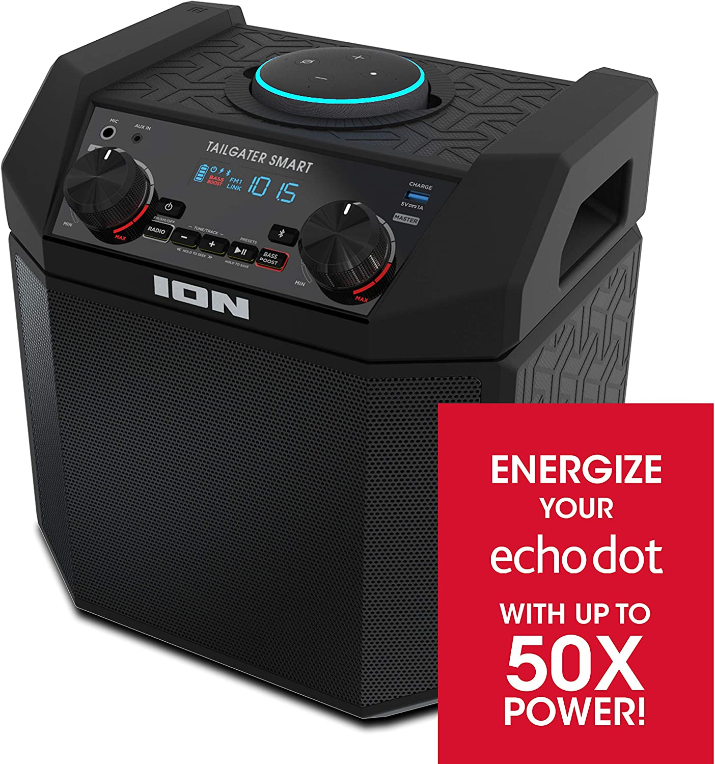 ION Audio 50W Outdoor Echo Dot Speaker Dock/Portable Alexa Accessory With Bluetooth Connectivity and 50 Hour Rechargeable Battery-Tailgater Smart