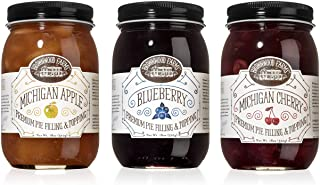 product image for Brownwood Farms 3 Pie Filling - 18 oz Gift Set of Cherry - Apple - Blueberry - Best Variety Premium Toppings - Made in USA Gluten-free - W/ Great Lakes Fruit - Chefs Baking - Pancakes Waffles (BFVP3P)
