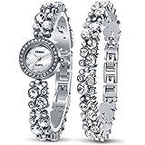 Time100 Orologio Bracciale da Donna Decorato con i Diamanti Movimento al Quarzo Cinturino Acciaio Elegante e Leggero