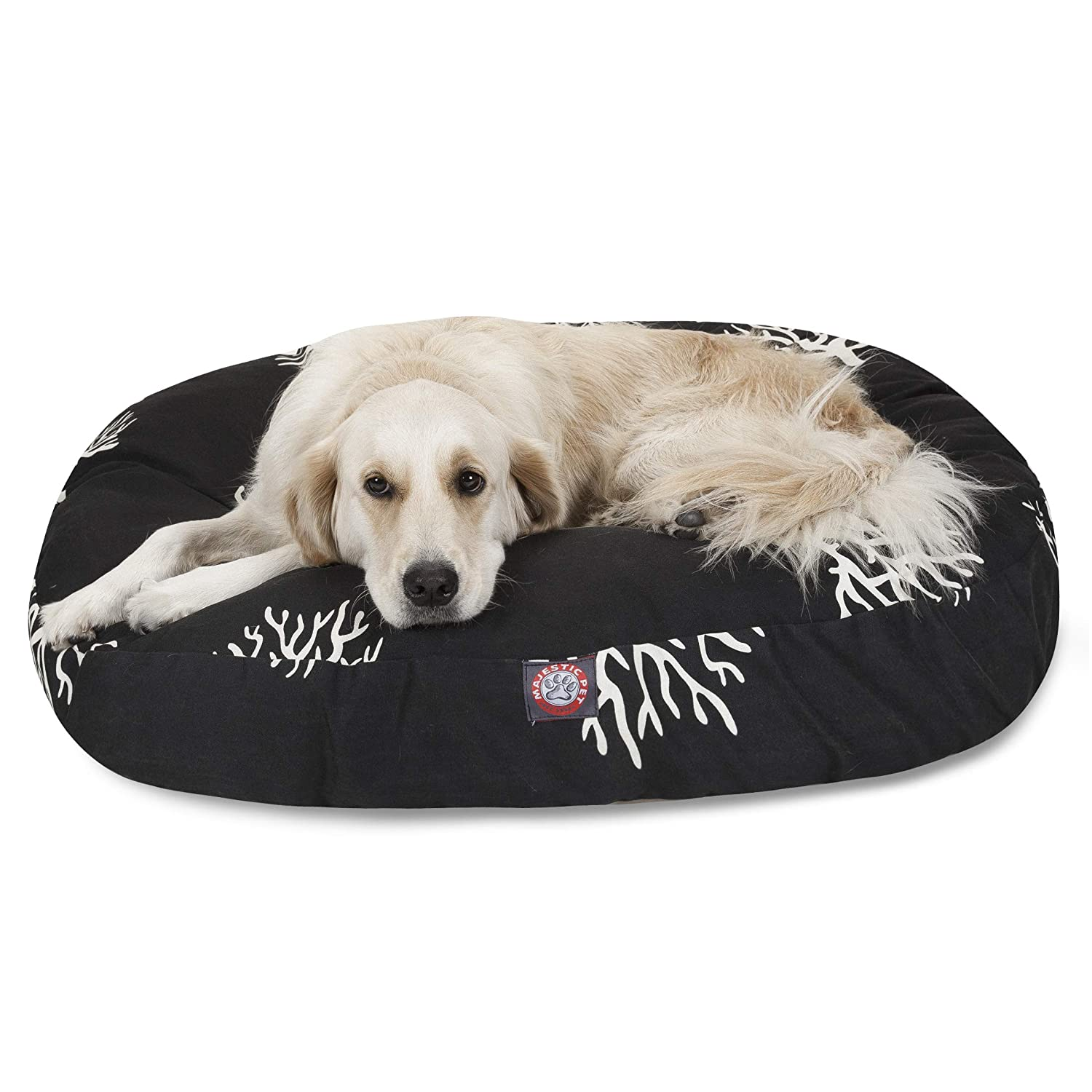 Majestic Pet Black Coral Large Round Indoor Outdoor Pet Dog Bed With Removable Washable Cover Products