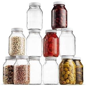 Glass Mason Jars 32 Ounce 1 Quart Regular Mouth, Metal Airtight Lid, USDA Approved Dishwasher Safe USA Made Pickling, Preserving, Canning Jar, Dry Food Storage, Craft Storage, Decorating Jar (12 Pack)