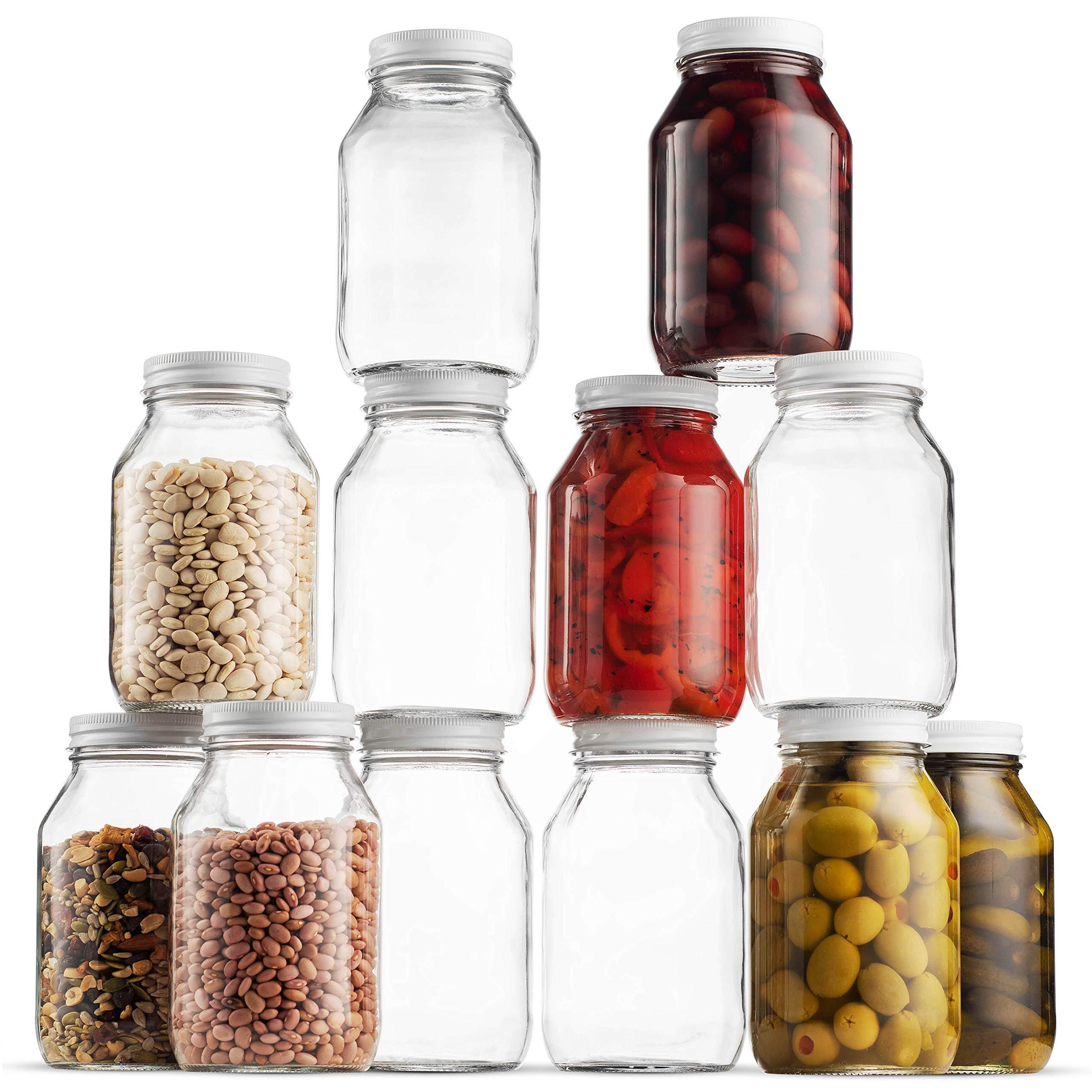 Glass Mason Jars 32 Ounce 1 Quart Regular Mouth, Metal Airtight Lid, USDA Approved Dishwasher Safe USA Made Pickling, Preserving, Canning Jar, Dry Food Storage, Craft Storage, Decorating Jar (12 Pack) by Paksh Novelty (Image #1)