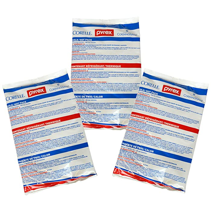 """Pyrex Portables Large 11"""" x 7"""" Hot/Cold Pack - 3 Pack"""