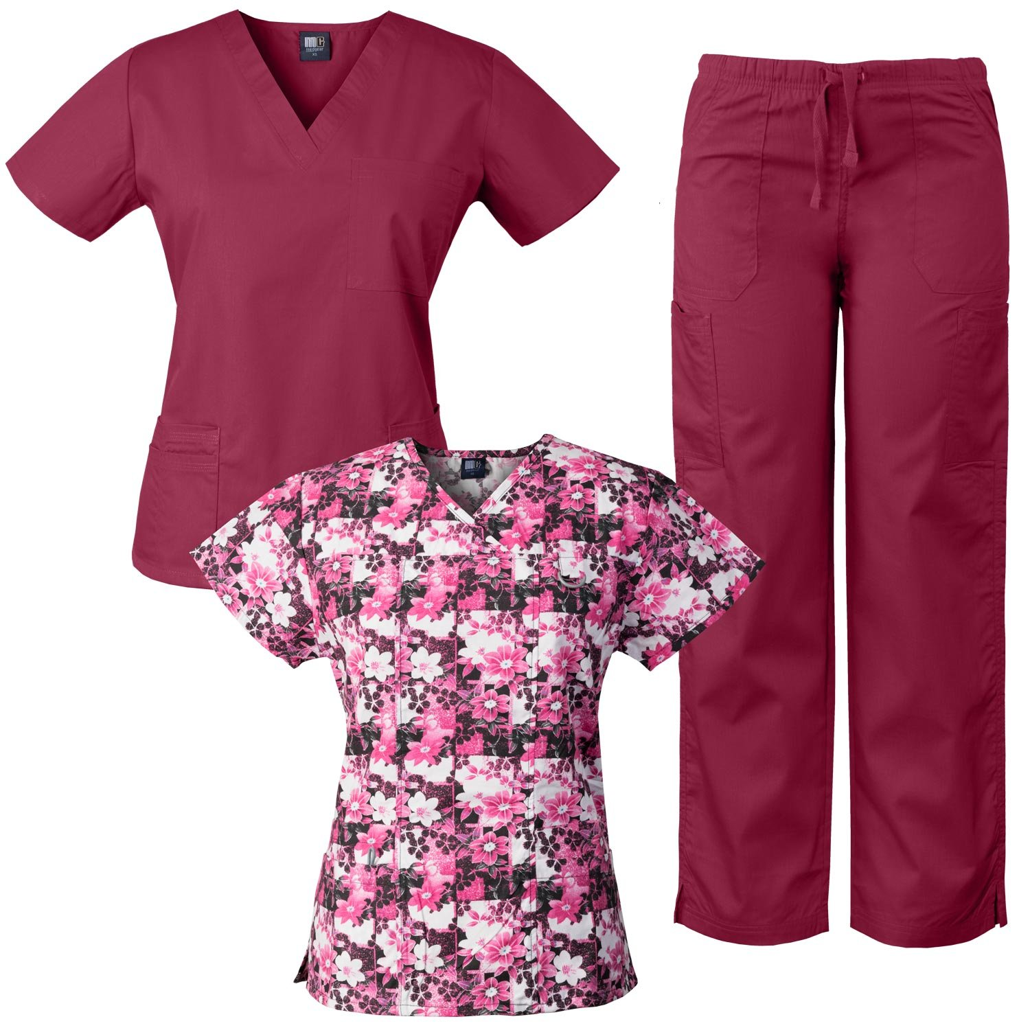 Medgear 3-Piece Combo, Eversoft Scrubs Set with Printed Scrubs Top FPGO