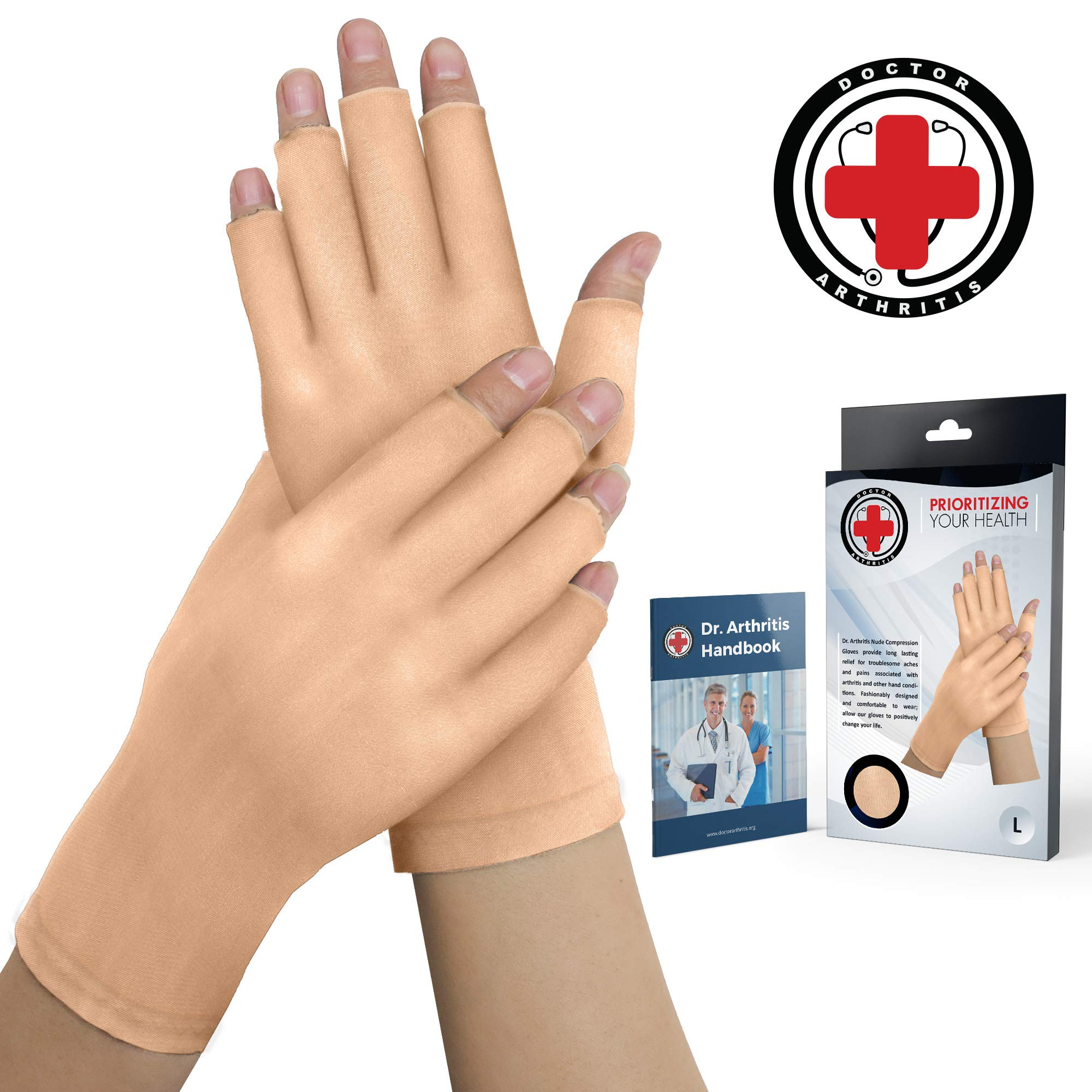 Doctor Developed Nude Arthritis Gloves/Skin Gloves and Doctor Written Handbook - Soft with Mild Compression, for Arthritis, Raynauds Disease & Carpal Tunnel (Open-fingertips, Medium) by Dr. Arthritis
