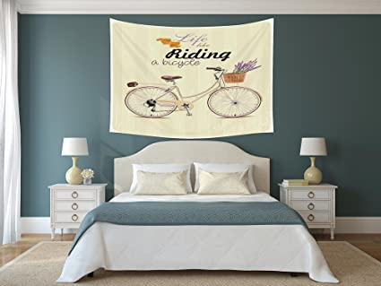Amazon Com Iprint Polyester Tapestry Wall Hanging Bicycle Boho Pop