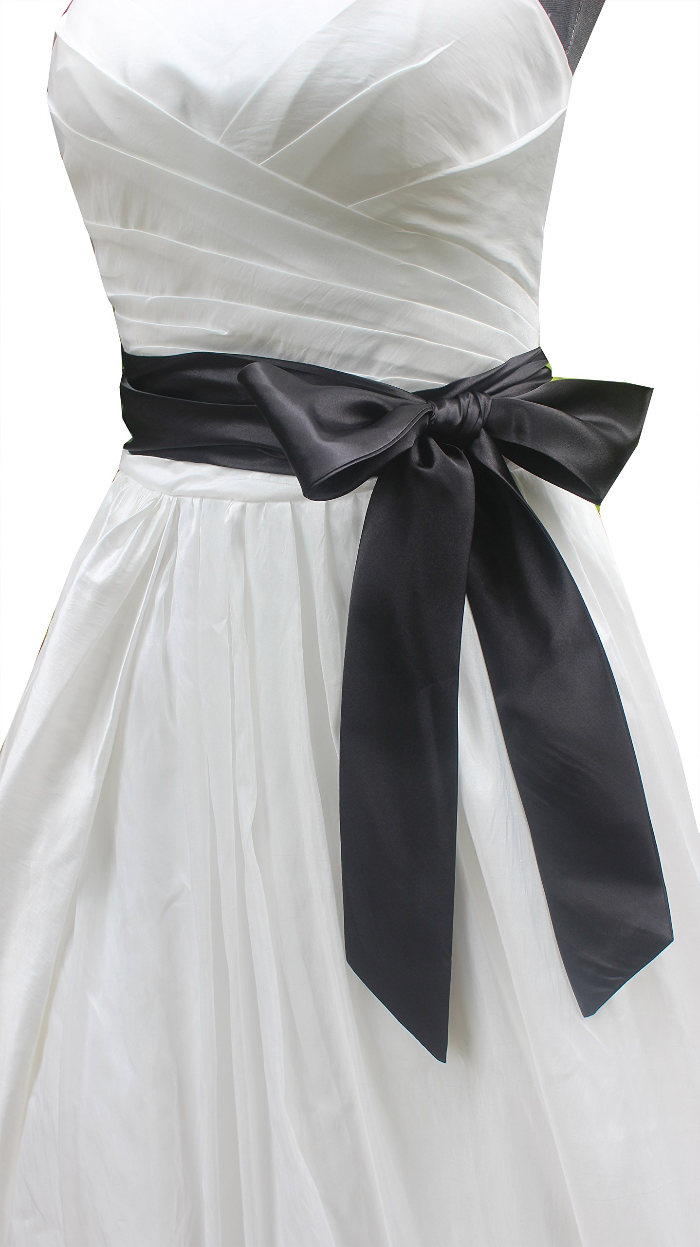 Wedding satin sash belt for special occasion ddress bridal sash (Black)