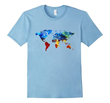 Amazon painted world map cool artistic earth design gift t mens painted world map cool artistic earth design gift t shirt 2xl baby blue gumiabroncs Images