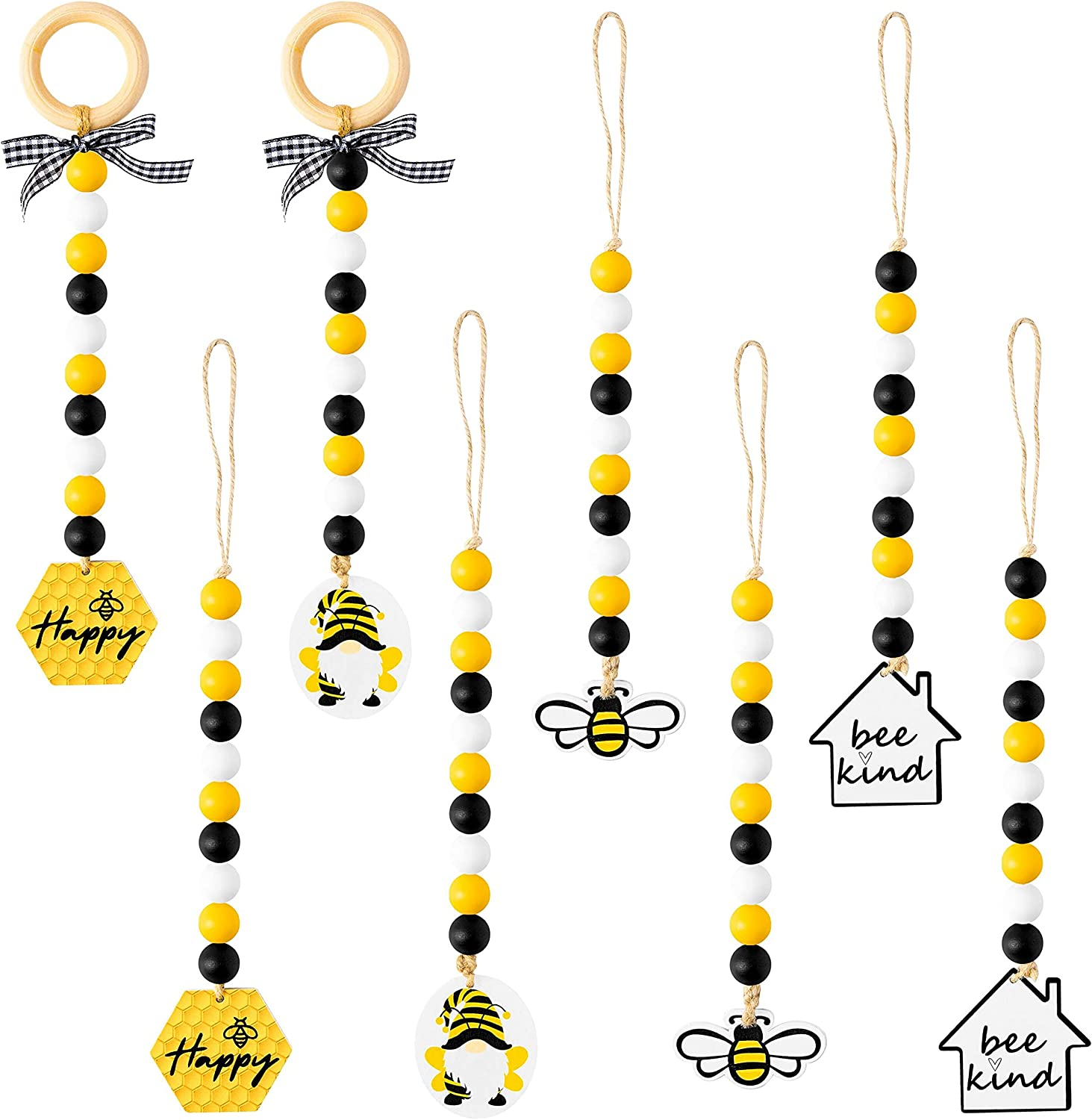 WATINC 8pcs Bee Wooden Bead Garland Ornament with Honeybee Pendant, Hanging Wood Ring Beads Tassels Rustic Farmhouse Tiered Tray Decor for Lemon Yellow Spring Summer Holiday Birthday Party Photo Props