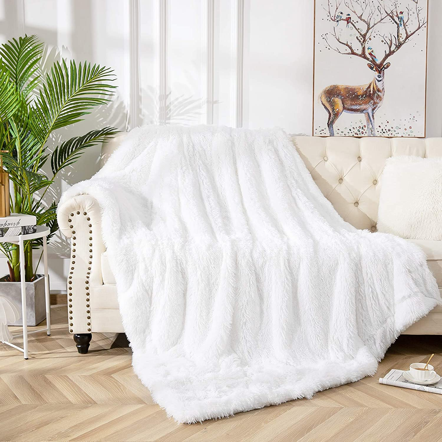 Vasofe Warm Shaggy Sherpa Blankets Fluffy Soft Fuzzy Faux Fur Throw Blanket for Xmas Couch Sofa Photo Home Decor White Bed Throw Size