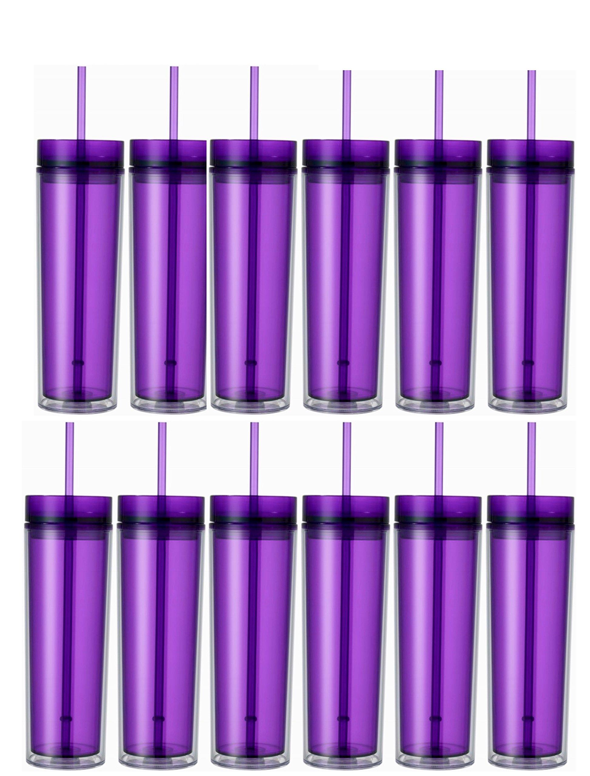 Set of 12 Double Wall Skinny Acrylic Tumblers 16 Oz, with Straws (Purple)