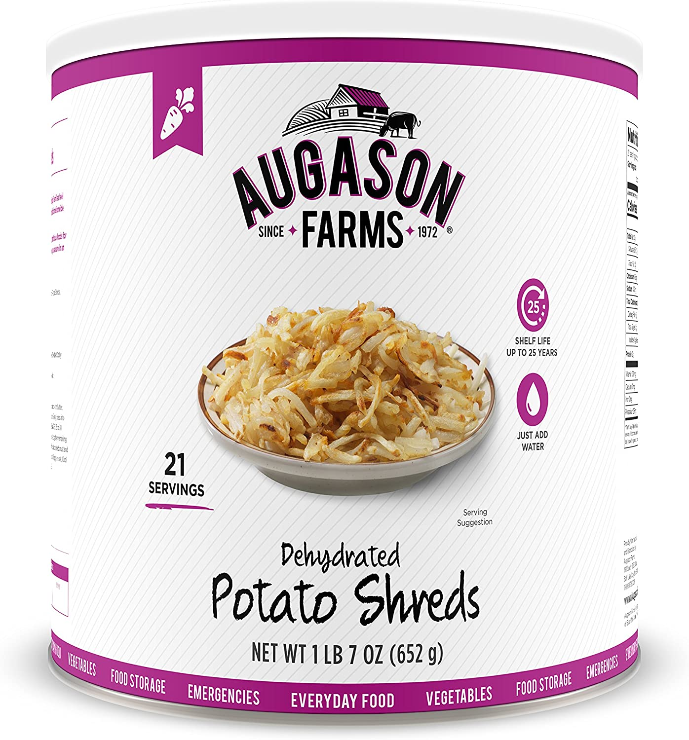Augason Farms Dehydrated Potato Shreds 1 lb 7 oz No. 10 Can
