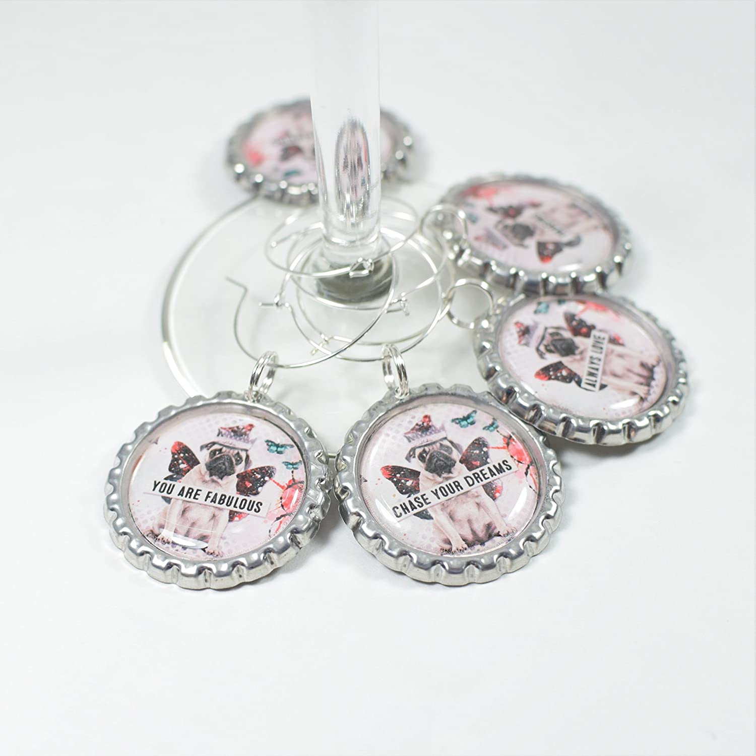 Pug Quotes Wine Charms Set of 5