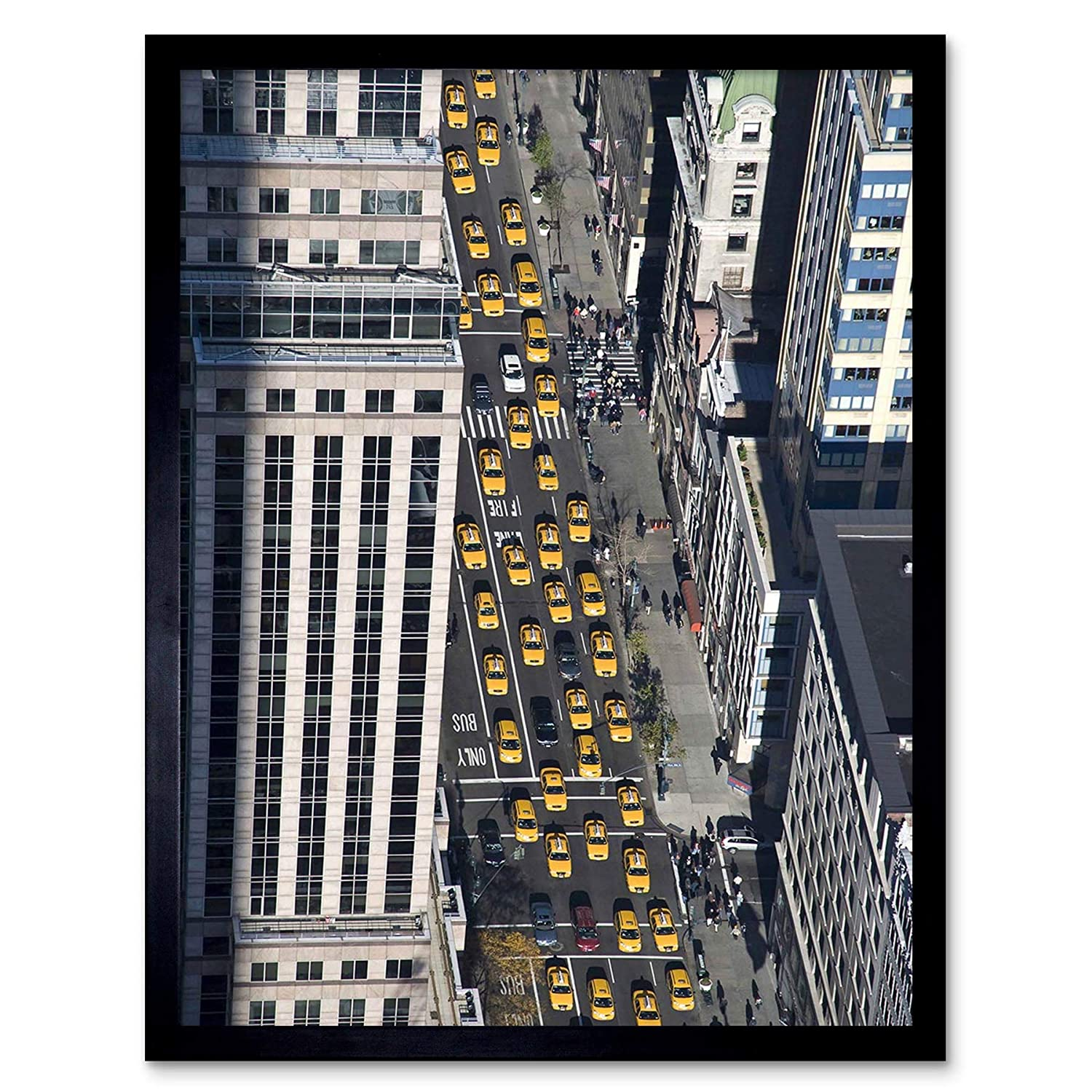 DT BUILDINGS NEW YORK TAXIS YELLOW ART 30x40 cms POSTER PRINT BMP11714