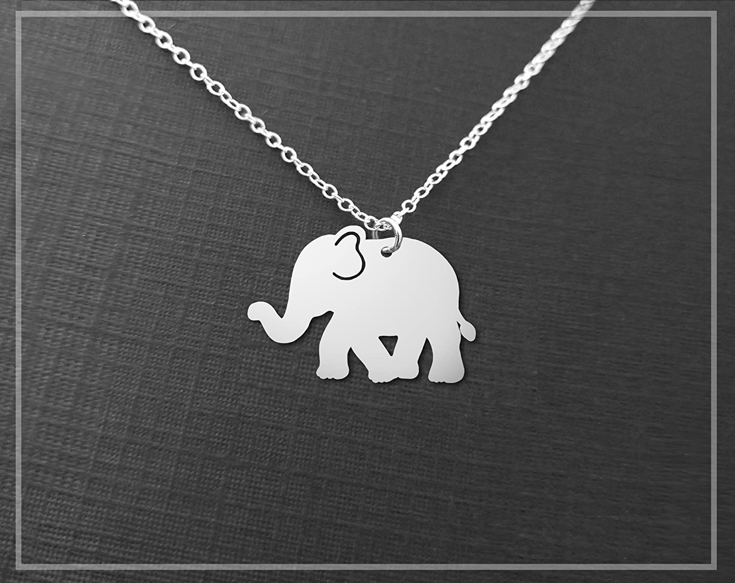 ELEPHANT NECKLACE Lucky Elephant Handmade in the USA by Gracefully Made Jewelry Animal Necklace Charm PURE Sterling Silver Necklace