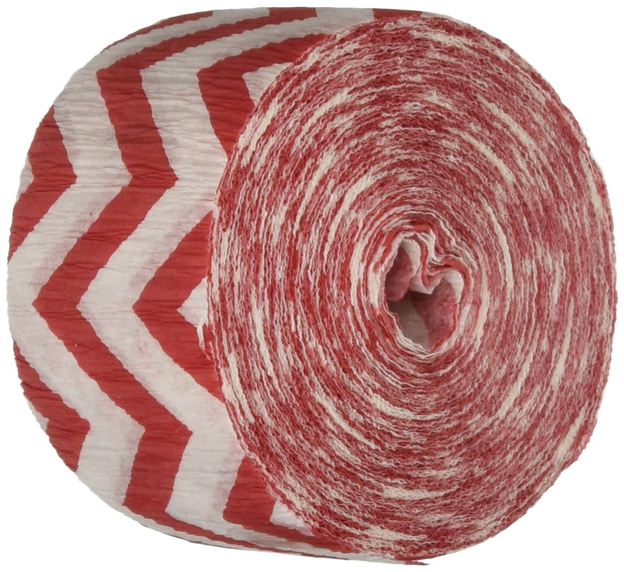 Amscan Perfect Chevron Printed Crepe Streamerss Childrens Party Streamers (12 Piece), Apple Red, 81'