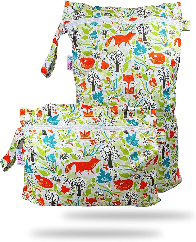 lujiaoshout Bolsa con Cremallera Impermeable y Lavable para beb/é de 2 Cremalleras Bolsa de pa/ñales de Tela Reutilizable Patr/ón de Elefante Productos Esenciales