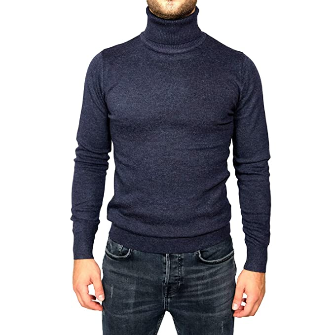 enorme sconto f5fe6 299b2 Maglione Uomo Invernale Blu Collo Alto Slim Fit Lana Dolcevita Maglioncino  Aderente Pullover Casual Elegante Classico ML XL XXL