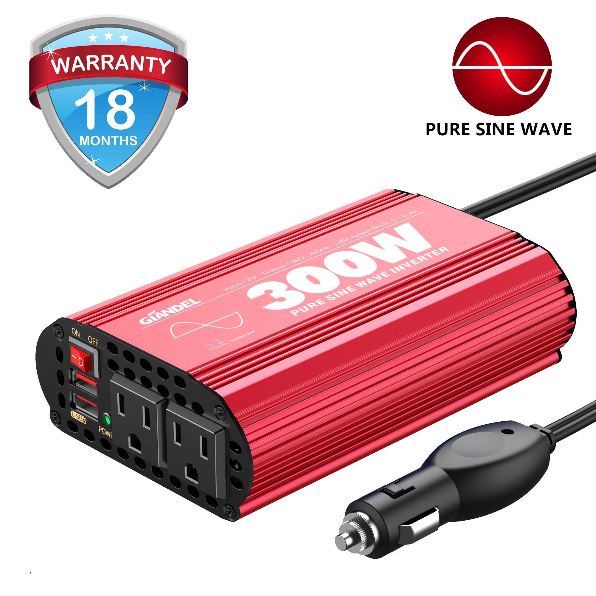 300Watt Pure Sine Wave Power Inverter DV 12volt to AC 120volt Car Converter Adapter with Dual USB Ports for Smartphones Laptops Tablets CPAP by GIANDEL