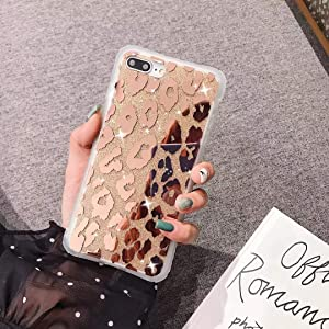iPhone 8 Plus Case/iPhone 7 Plus Case,Luxury Sparkle Bling Translucent Leopard Print Soft Silicone Phone Case Back Cover for Girls Women for iPhone 8/7 Plus(Leopard/Golden)