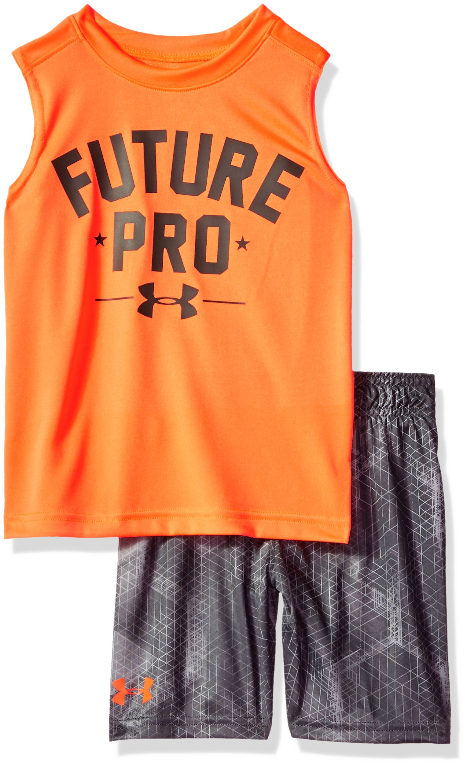 Under Armour Boys' Toddler UA Muscle Tank and Short Set, Magma Orange, 2T by Under Armour (Image #1)