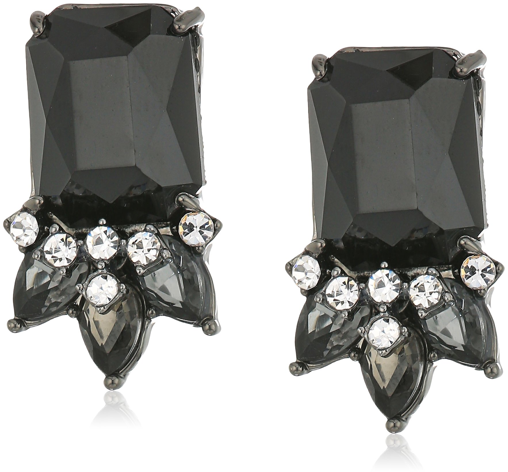 carolee''midnight tower'' emerald shape cluster clip-on earring