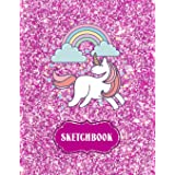 """Sketchbook: Cute Unicorn Kawaii Notebook with Pink Glitter Effect Background, 100+ Pages, 8.5""""x11"""" Blank Paper with Unicorns"""