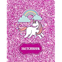 "Sketchbook: Cute Unicorn Kawaii Notebook with Pink Glitter Effect Background, 100+ Pages, 8.5""x11"" Blank Paper with Unicorns and Doodles, Great Gift ... Animals, and Coloring (Cute Gifts for Girls)"