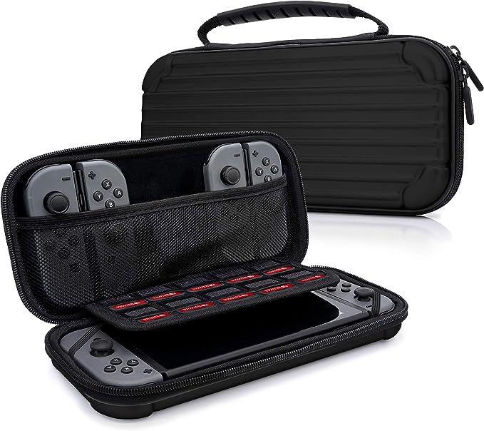 MyGadget Funda para Nintendo Switch - Estuche de Viaje Rígido Duro - Maletín Resistente con Bolsillos Para Accesorios, Juegos y Console - Negro: Amazon.es: Videojuegos