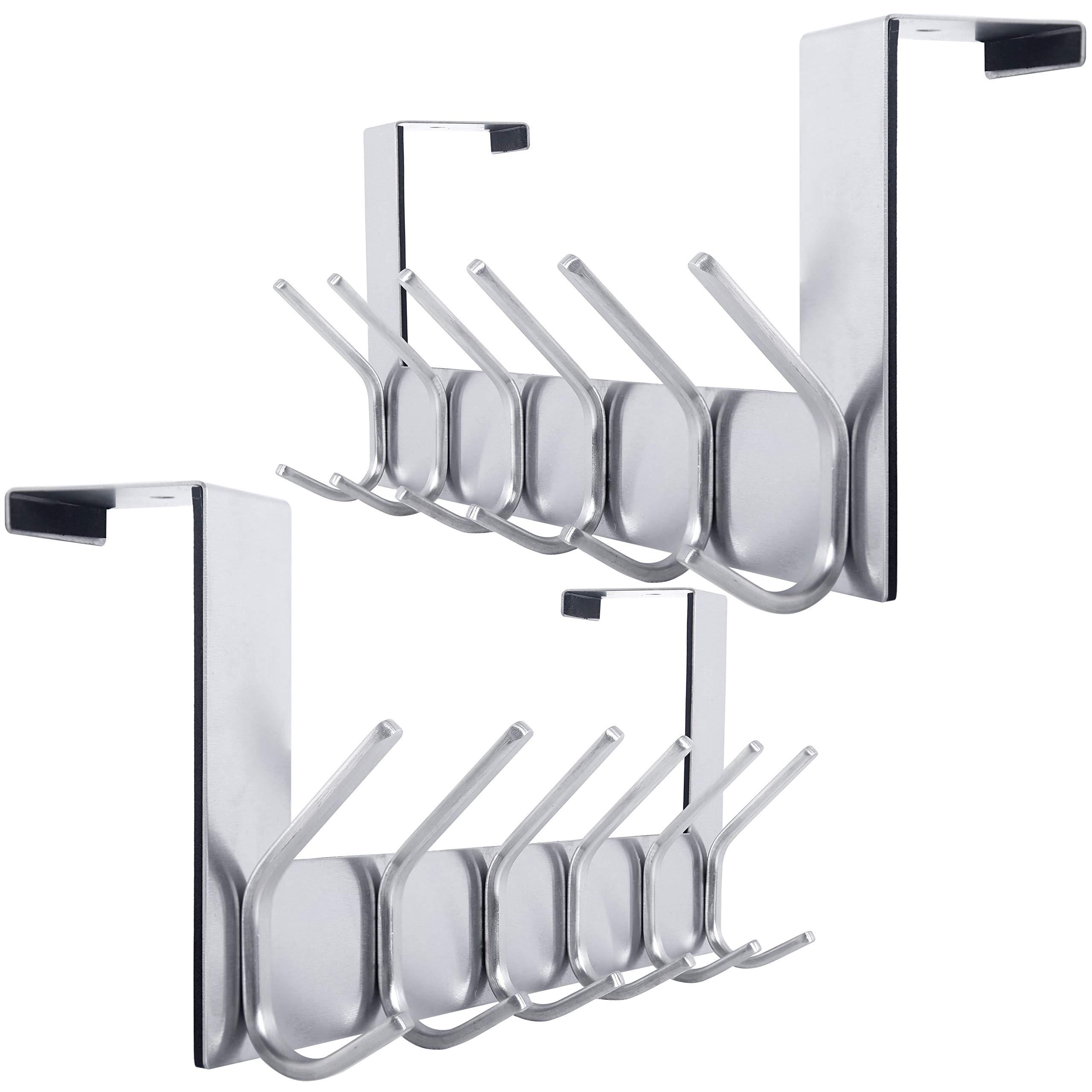 Over The Door Hook Door Hanger:Over The Door Towel Rack with 6 Double Hooks for Hanging Coats,Door Coat Hanger Towel Hanger Over Door Coat Rack for Towels,Clothes,Back of Bathroom,Silver,2 Packs