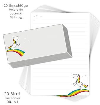 Juego de papel de cartas para niños arco iris Unicornio 20 ...