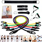 EXEFIT Resistance Band Exercise Workouts 13-Set With Door Anchor ,Ankle Strap,Handle ,Extra Strap ,33-Page Instruction Book and Carry Bag For Total Body Exercise