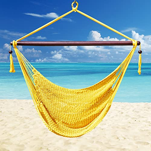 Strong Camel Hanging Caribbean Polyester Hammock Chair 48 Inch Yellow