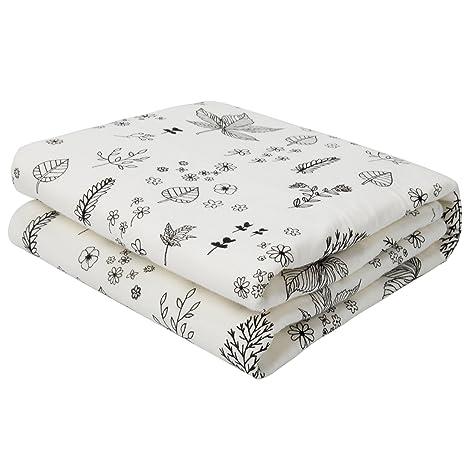 Bebé Kid almohadillas de colchón impermeable transpirable antideslizantes – Protector de cama tampones Flowers & Leaves