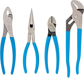 product image for Channellock PC-2 Pro's Choice Plier Kit with Bonus Tool Tray for convenient storage, 4-Piece 9-1/2 Inch Tongue and Groove, 8-Inch Heavy Duty Slip Joint, 8-Inch Long Nose, and 7-Inch High Leverage Diagonal Cutter