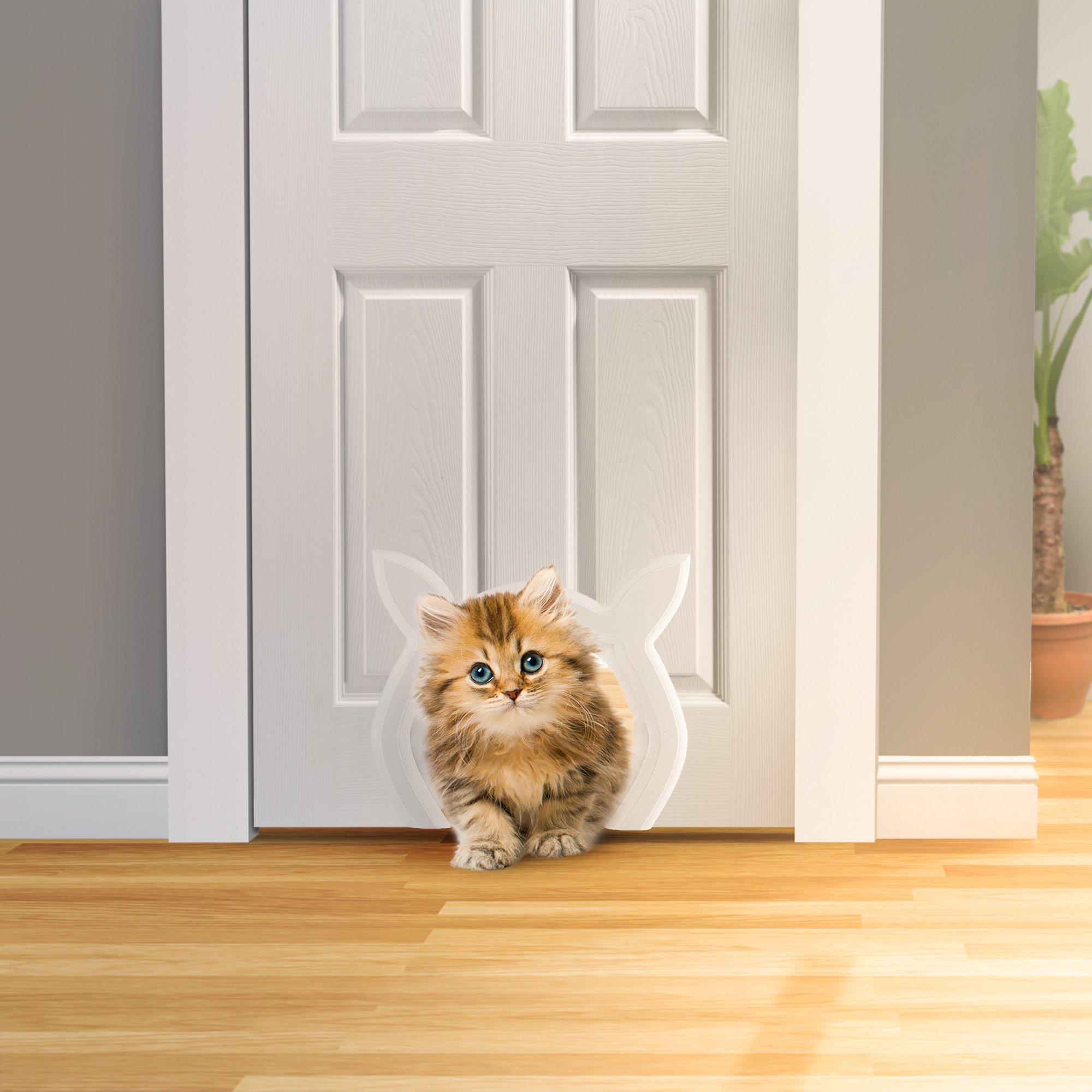 Prouder Pet Interior Cat Door   Fits Most Standard Door Sizes   Safe For  Cats Up To 25 Lbs  Litter Box Concealer   No More Mess