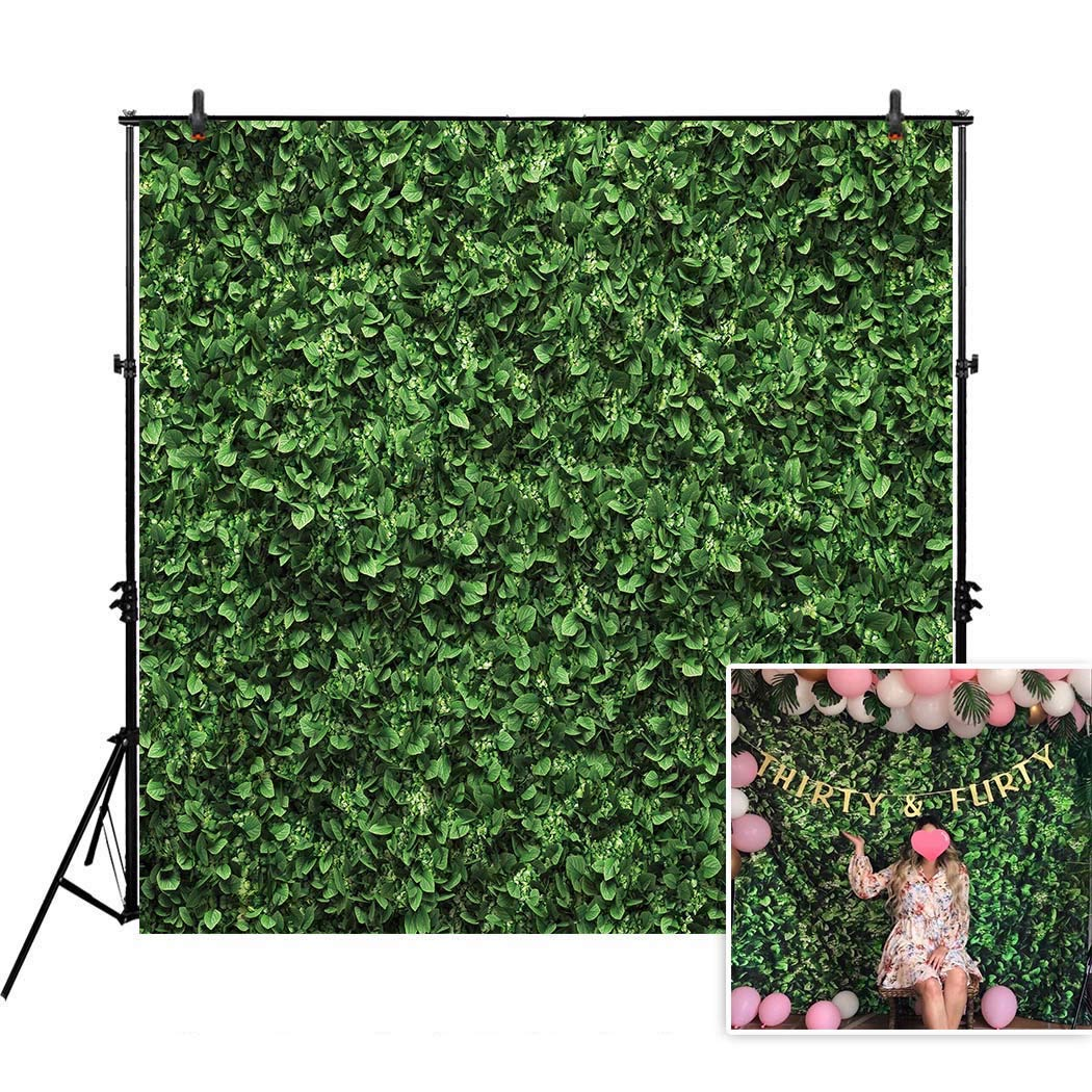 Allenjoy 8x8ft Fabric Green Leaves Backdrop(Not Artificial Grass) for Photo Studio Photography Still Life Grass Leaf Floordrop Picture Background Summer Party Decor Outdoorsy Theme Shoot Props Drop by Allenjoy