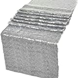 "GWHome 12"" X 108"" Sequin Table Runner for Wedding Party Banquet Rectangular and Round Table (Silver)"