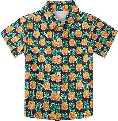 AIDEAONE Camisa de Manga Corta con Botones Camisas Negro con Estampado de Piña 2-3 Años: Amazon.es: Ropa y accesorios