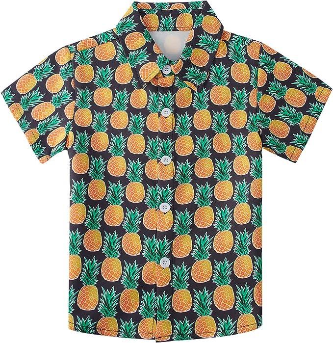 AIDEAONE Ropa para Niños Camisa de Verano de Manga Corta Estampado de Piña Camisas Negro 3-4 Años: Amazon.es: Ropa y accesorios