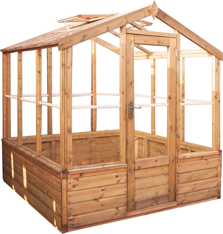 Waltons 6 ft x 6 ft lengua y Groove de madera Premium – de efecto invernadero de cristal: Amazon.es: Jardín